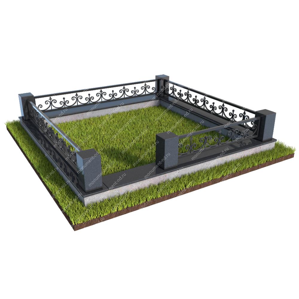 Гранитный цоколь с оградой ГЦО-015