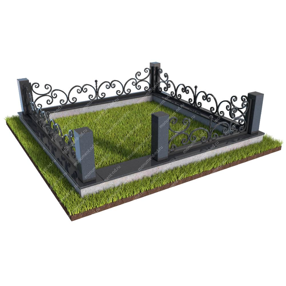 Гранитный цоколь с оградой ГЦО-02