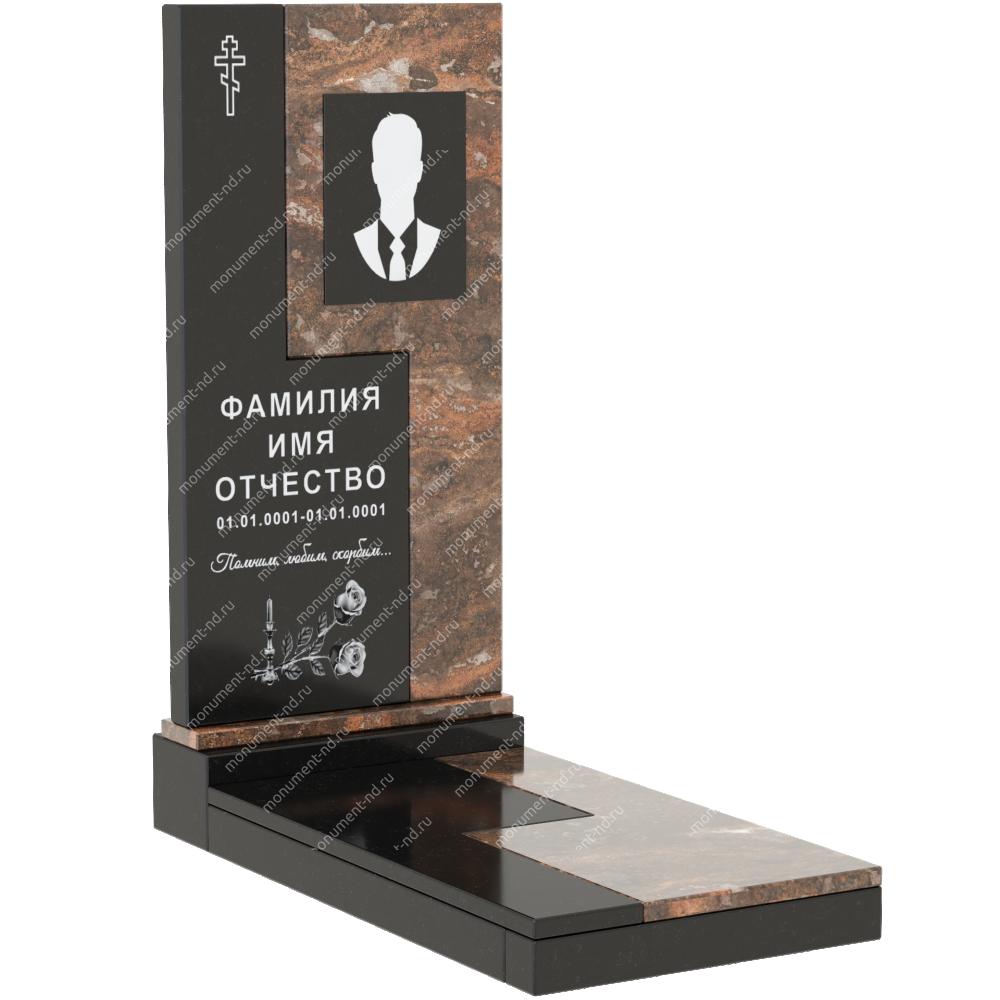 Комбинированный памятник из двух гранитов  КБ-011-1
