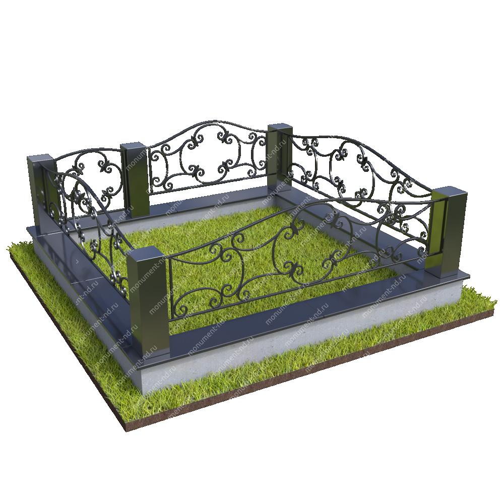 Гранитный цоколь с оградой ГЦО-021
