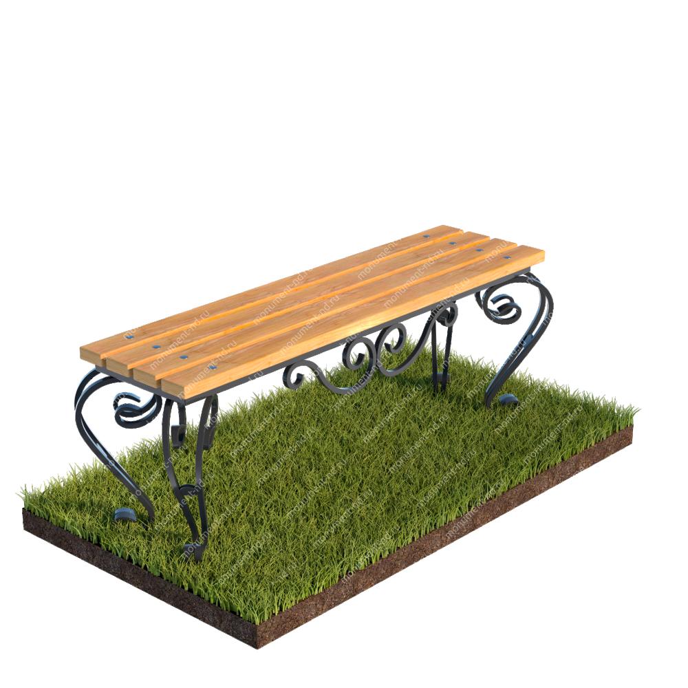 Лавочка с элементами ковки на могилу Л-005