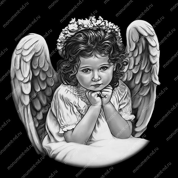 Гравировка ангела А-004 от 25х25 см
