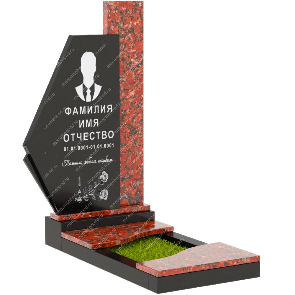 Комбинированный памятник из двух гранитов КБ-002-3