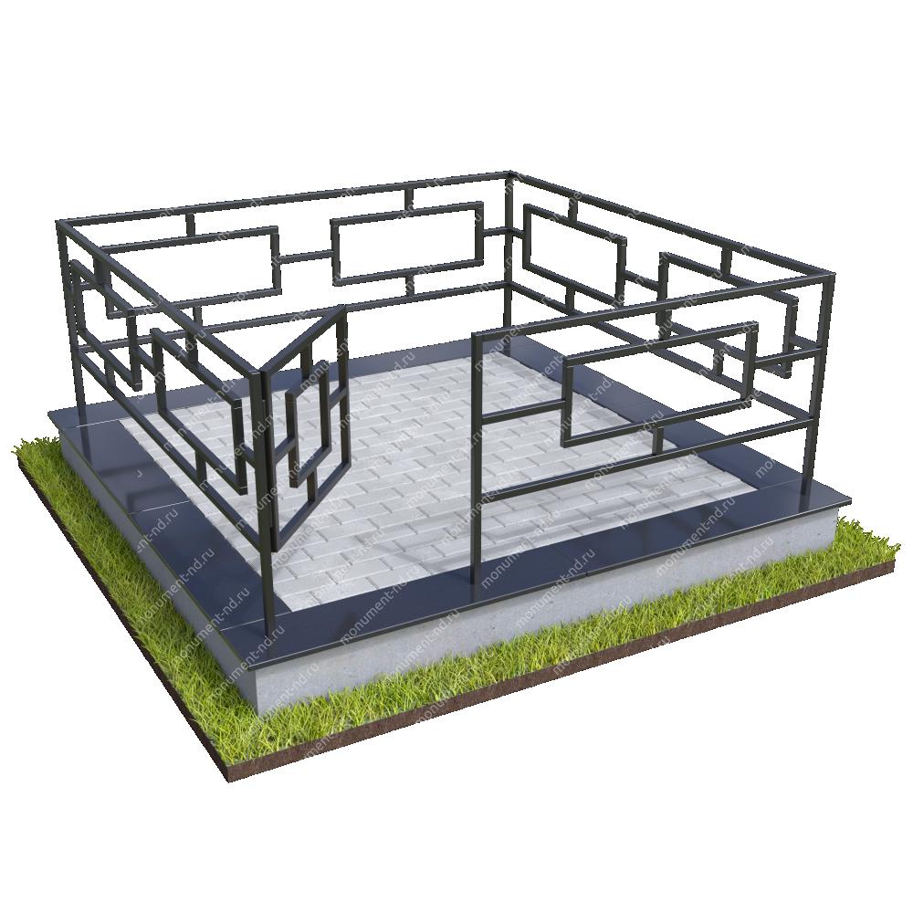 Бетонный цоколь с оградой на могилу БЦО-001_5 #