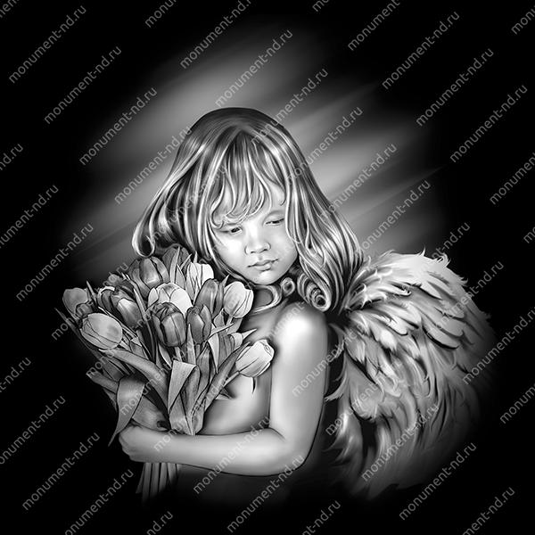Гравировка ангела А-002 от 15х12 см