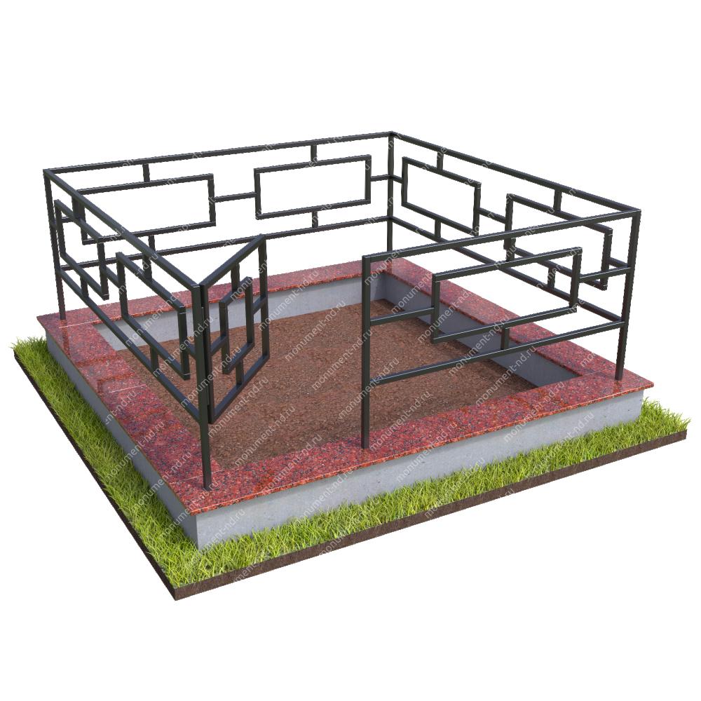 Бетонный цоколь с оградой на могилу БЦО-001_1 #