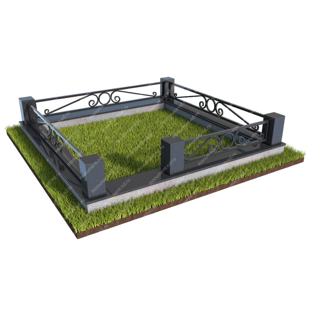 Гранитный цоколь с оградой ГЦО-010
