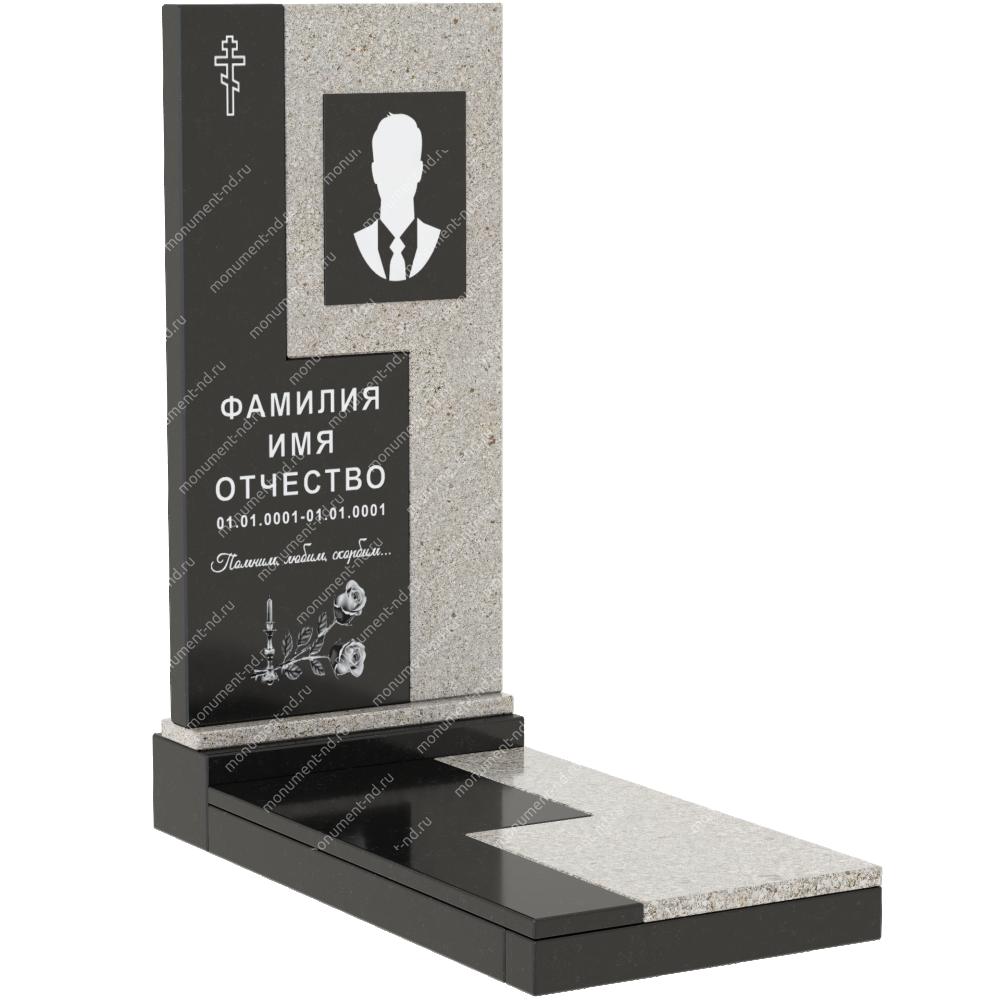 Комбинированный памятник из двух гранитов  КБ-011-2