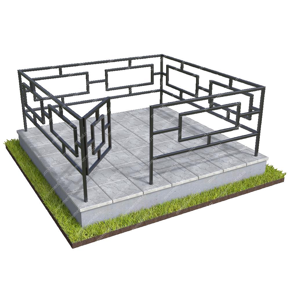 Бетонный цоколь полный подиум с оградой на могилу БЦППО-003_3 #