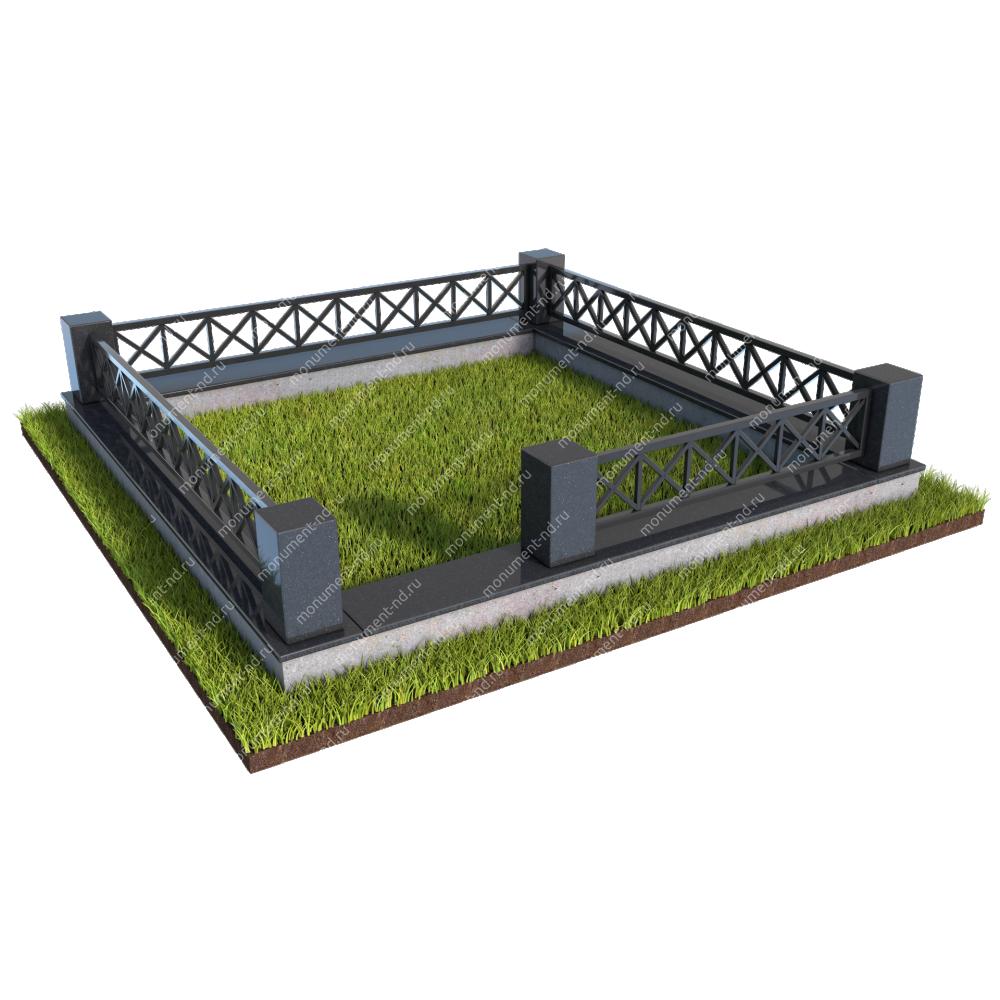 Гранитный цоколь с оградой ГЦО-011