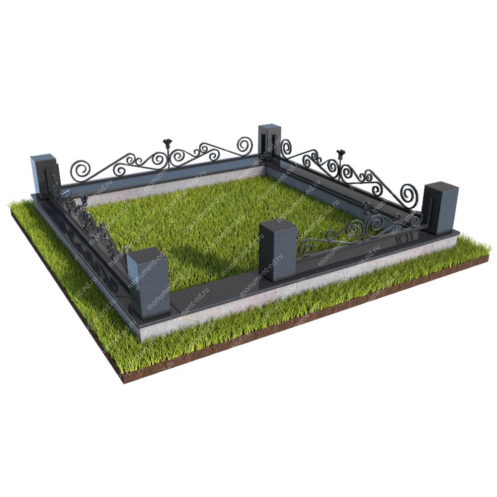 Гранитный цоколь с оградой ГЦО-013