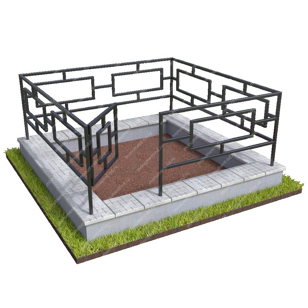 Бетонный цоколь с оградой на могилу БЦО-001_3 #