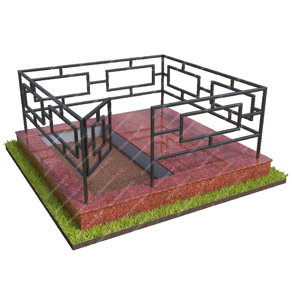 Бетонный цоколь полуподиум с оградой на могилу БЦПО-002-2 #