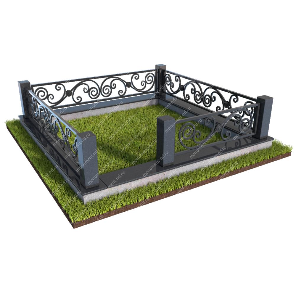 Гранитный цоколь с оградой ГЦО-04