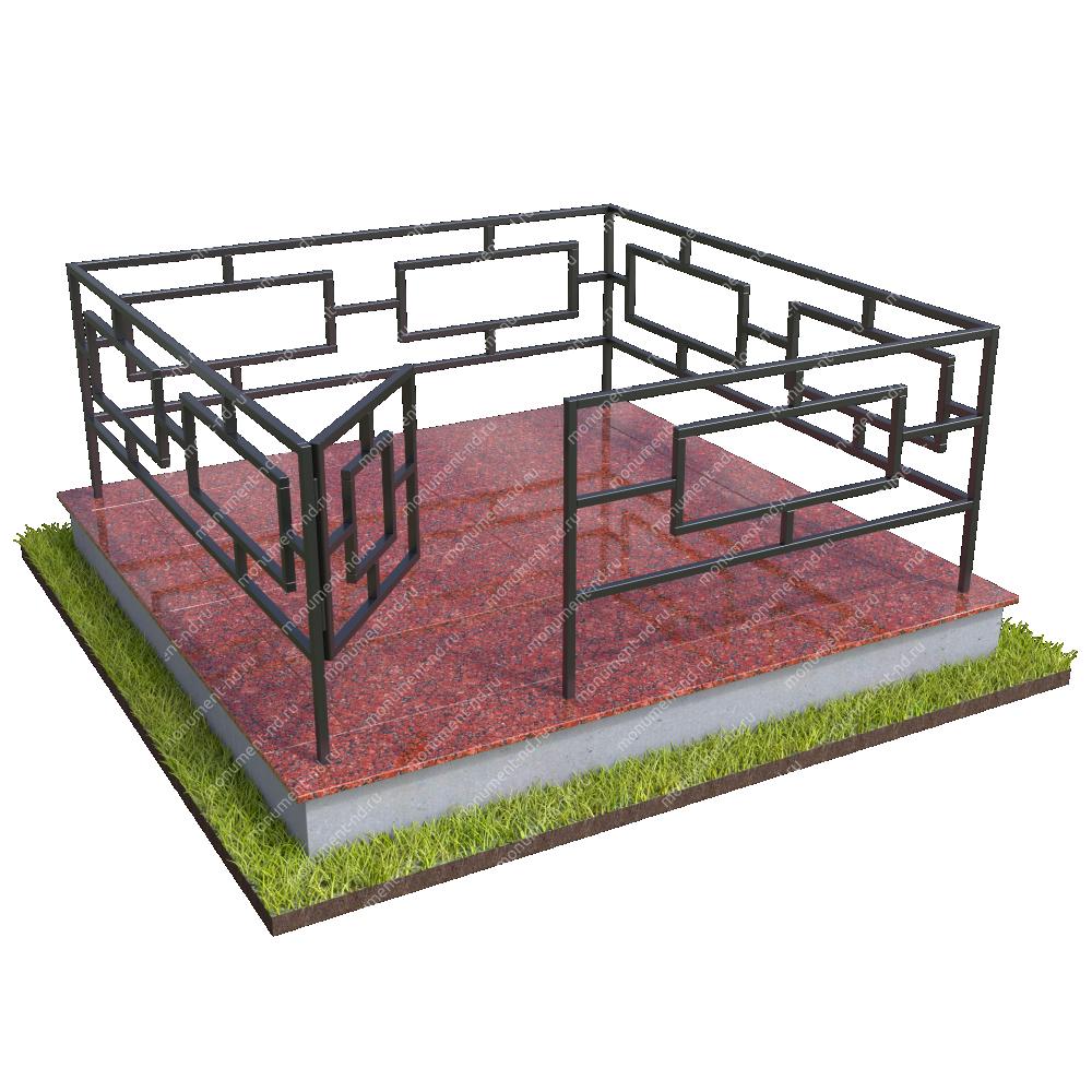 Бетонный цоколь полный подиум  с оградой на могилу БЦППО-003_1 #