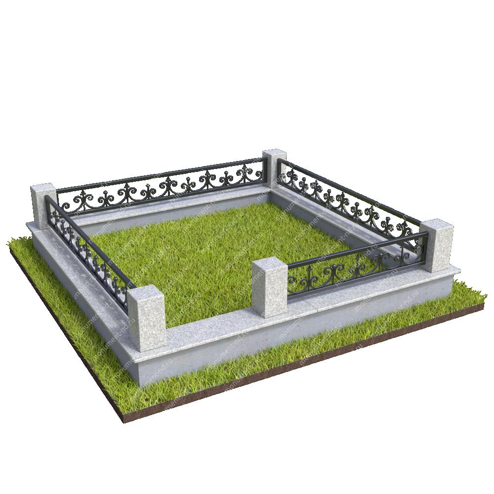Гранитный цоколь с оградой ГЦО-25