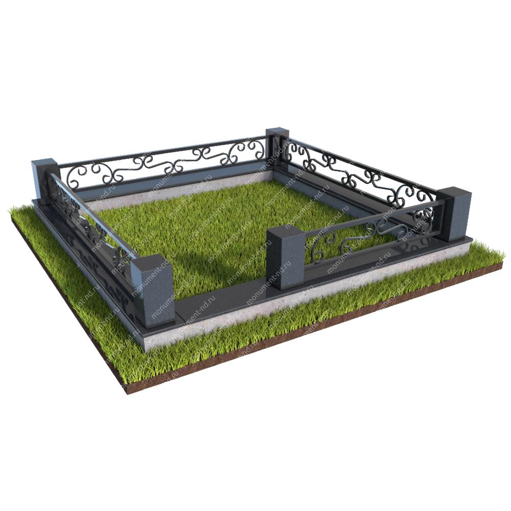 Гранитный цоколь с оградой ГЦО-09