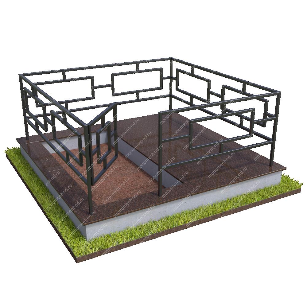Бетонный цоколь полуподиум с оградой на могилу БЦПО-002-1 #