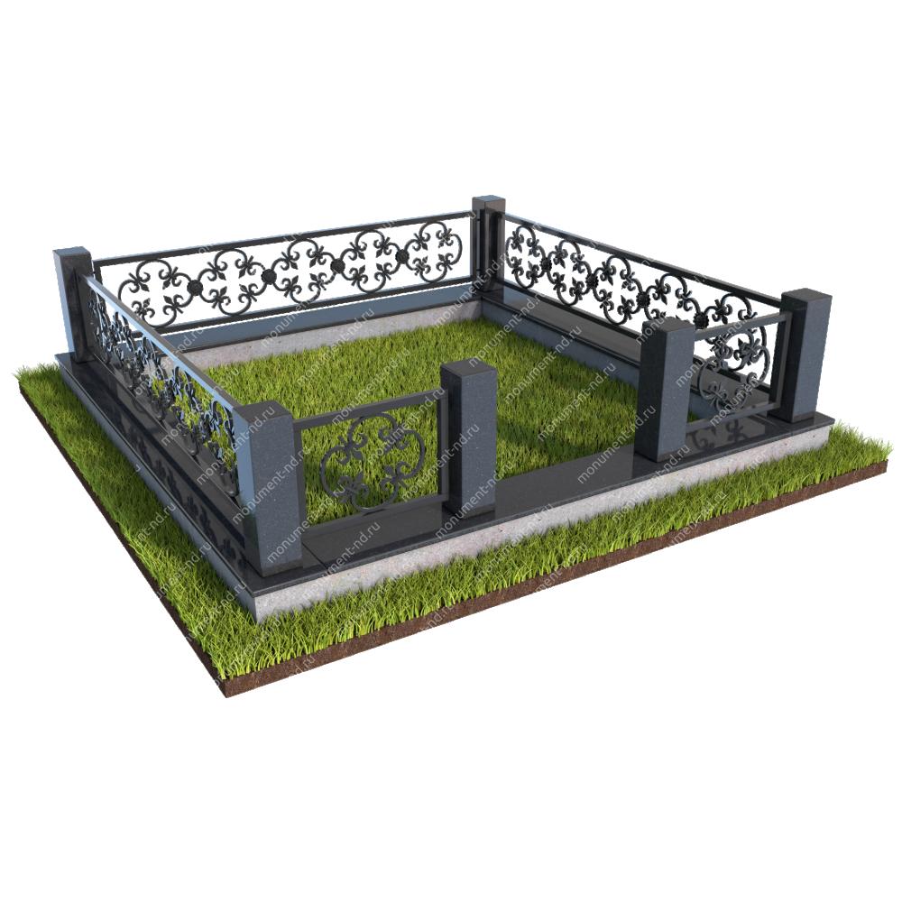 Гранитный цоколь с оградой ГЦО-08