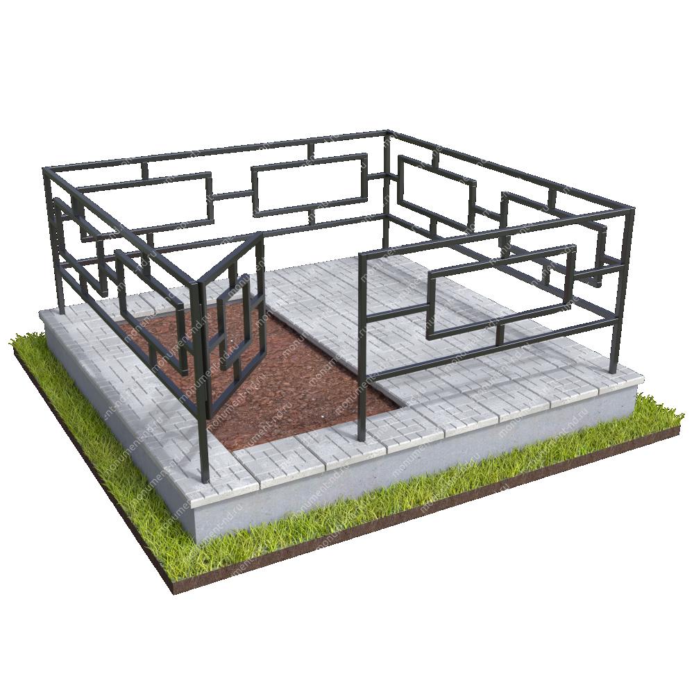Бетонный цоколь полуподиум с оградой на могилу БЦПО-002-3 #