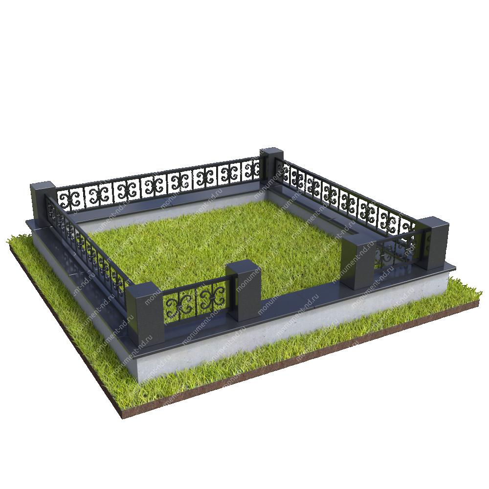 Гранитный цоколь с оградой ГЦО-26