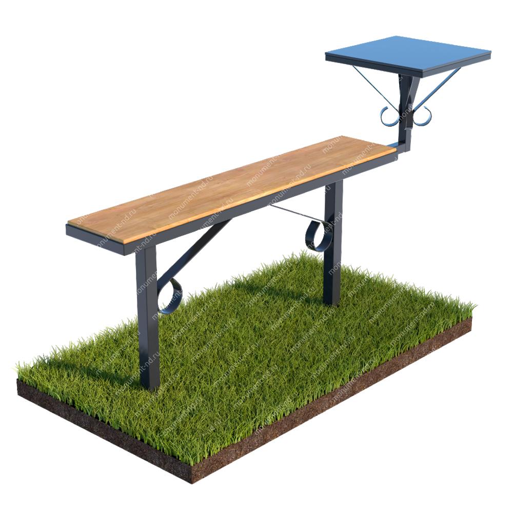Лавочка с деревянным верхом и столиком совмещённые Л-007