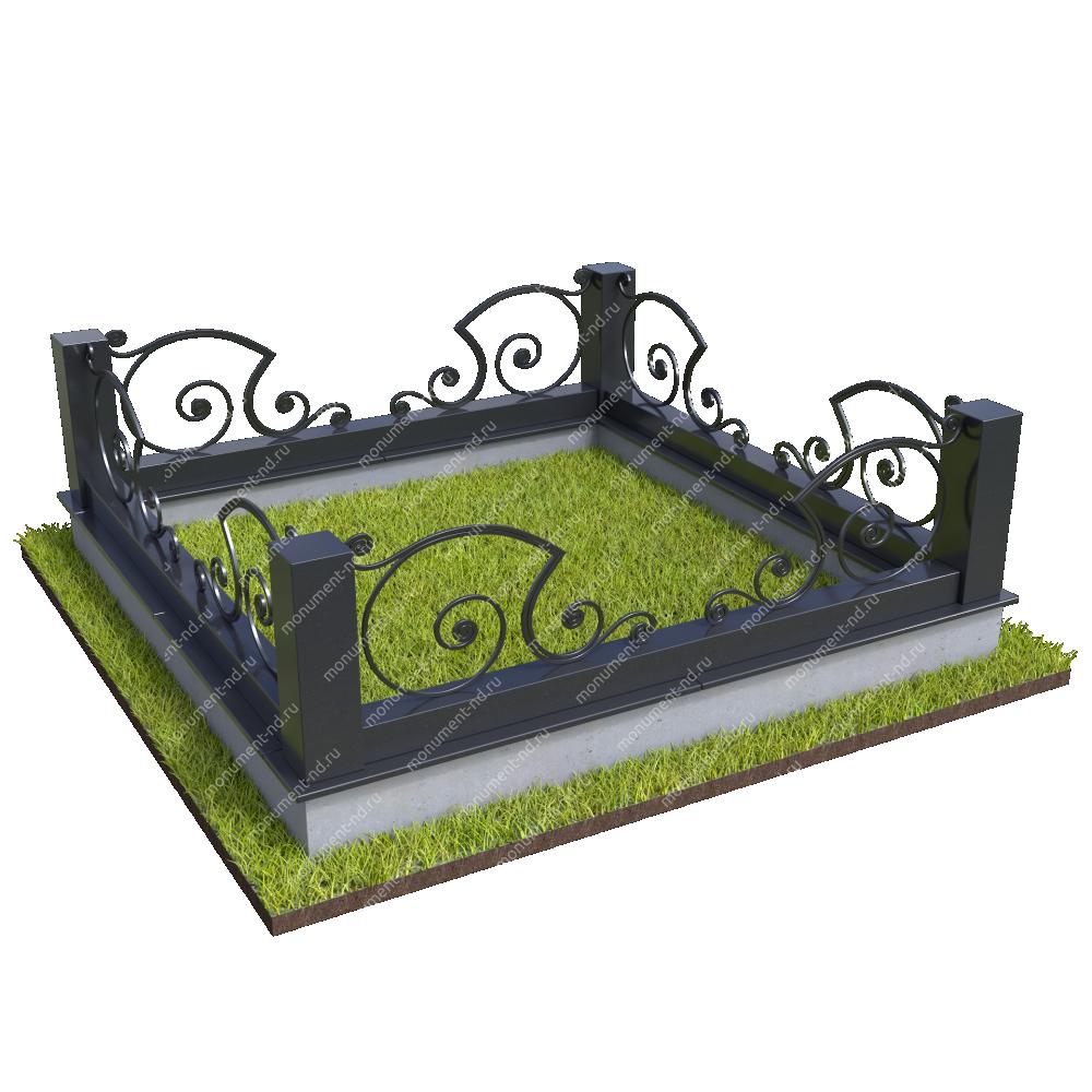 Гранитный цоколь с оградой ГЦО-018