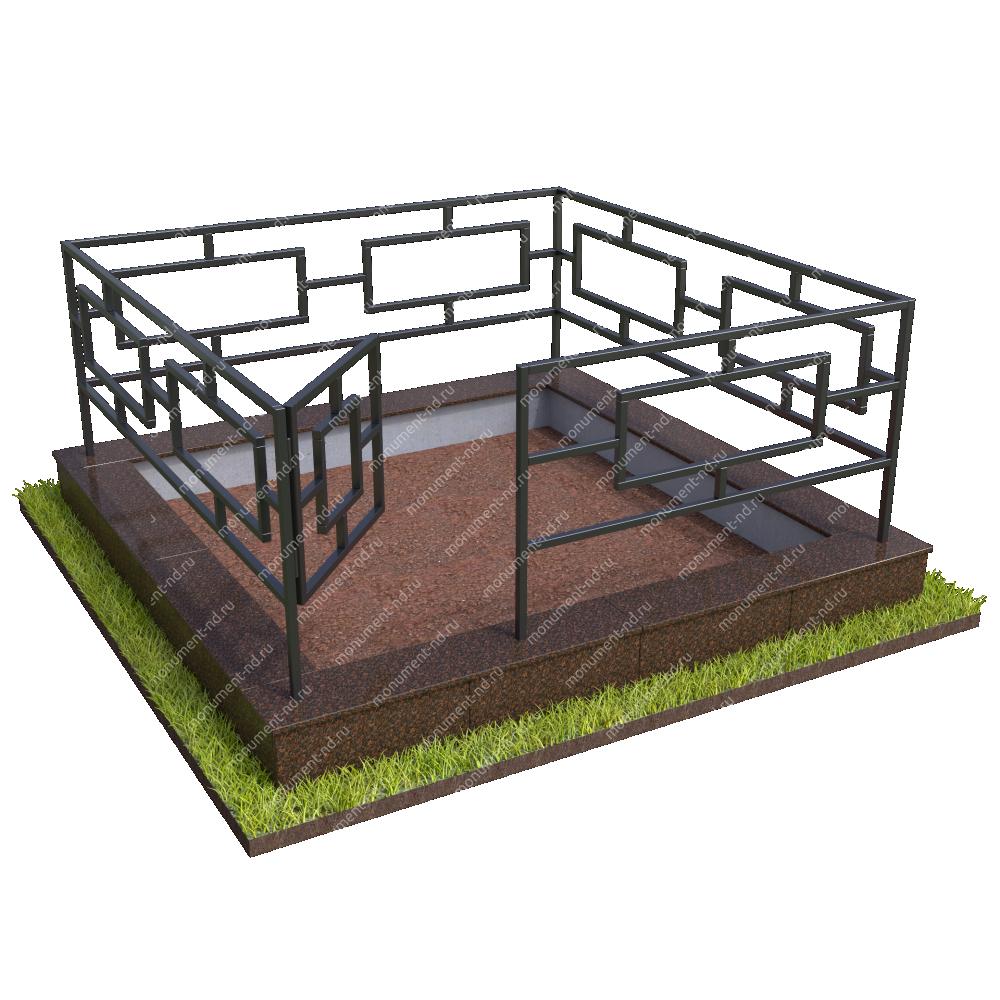 Бетонный цоколь с оградой на могилу БЦО-001_2 #