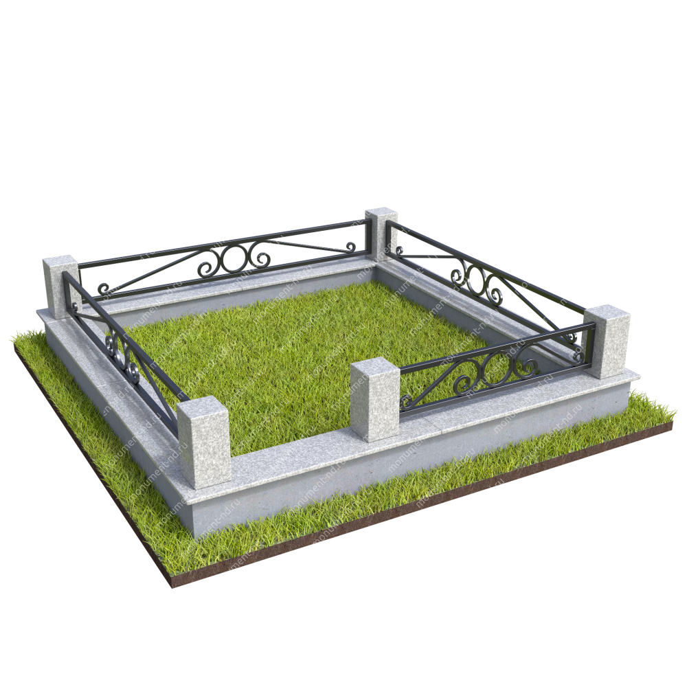 Гранитный цоколь с оградой ГЦО-23