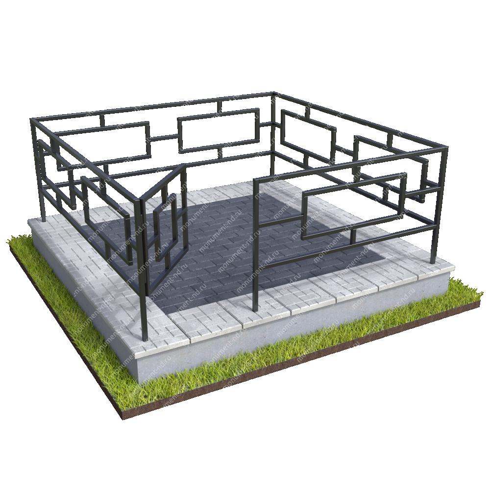 Бетонный цоколь с оградой на могилу  БЦО-001_4 #