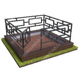 Бетонный цоколь с оградой на могилу БЦО-001_2 # 200х180 см.
