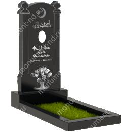 Резной памятник с барельефом ПБ-42 гранит габбро цвет черный 100*50*5