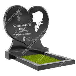 ПС-11 - Памятник с сердцем гранит габбро цвет черный 100*100*8