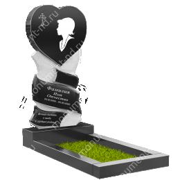 ПС-14 - Памятник с сердцем гранит габбро цвет черный 140*70*8