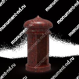 Лампада на могилу-006К гранит/металл/стекло цвет красный 35х15