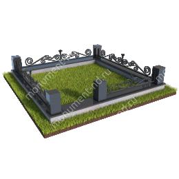 Гранитный цоколь с оградой ГЦО-013  гранит/металл