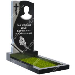 Резной памятник с барельефом ПБ-22 гранит цвет черный 100*50*5
