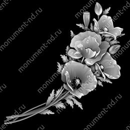 Гравировка цветы Цв-016 32 х12 / ≤ 40х60 см