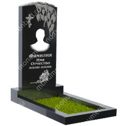 Резной памятник с барельефом ПБ-4 цвет черный 100*50*5