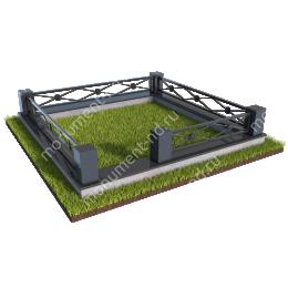 Гранитный цоколь с оградой ГЦО-014  гранит/металл