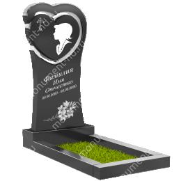 ПС-19 - Памятник с сердцем гранит габбро цвет черный 120х60х8
