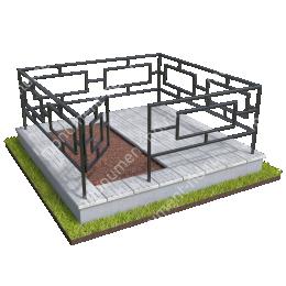 Бетонный цоколь полуподиум с оградой на могилу БЦПО-002-3 # 200х180 см