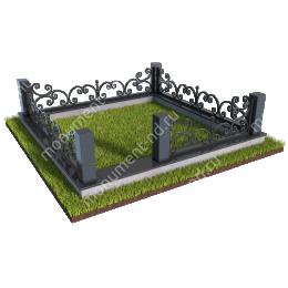 Гранитный цоколь с оградой ГЦО-02 гранит/металл