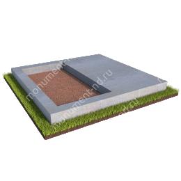 Бетонный цоколь на могилу полуподиум БЦП-002 # 200х180 см