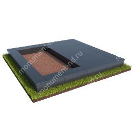 Бетонный цоколь на могилу полуподиум БЦП-002_3 # 200х180 см
