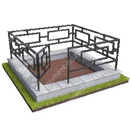 Бетонный цоколь с оградой на могилу БЦО-001_3 # 200х180 см.