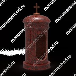 Лампада на могилу-007К гранит/металл/стекло цвет красный 35х15