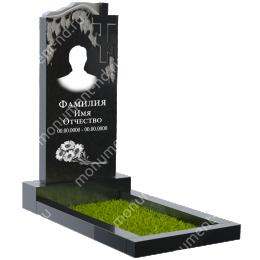 Резной памятник с барельефом ПБ-13 цвет черный 100*50*5