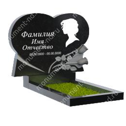 ПС-31 - Памятник с сердцем гранит цвет чёрный 100*100*8