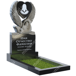ПБ-94 Памятник с барельефом гранит габбро цвет черный 140*70*8